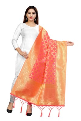 Peach woven banarasi Weaving Work Dupatta