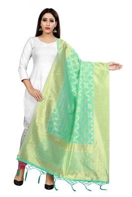 Sea Green woven banarasi Weaving Work Dupatta