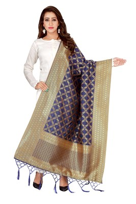 Navy Blue woven banarasi Weaving Work Dupatta