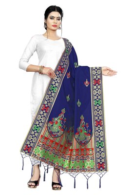 Blue woven banarasi Weaving Work Dupatta