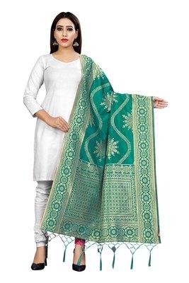 Turquoise woven banarasi Weaving Work Dupatta