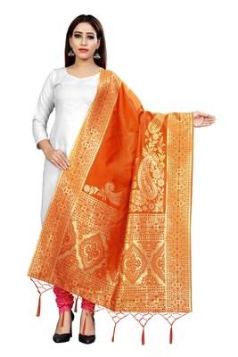 Orange woven banarasi Weaving Work Dupatta