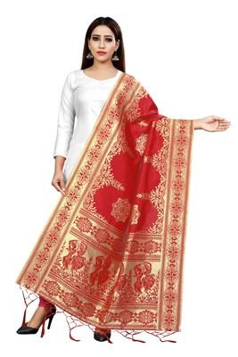 Red woven banarasi Weaving Work Dupatta