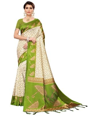 White printed art silk saree with blouse