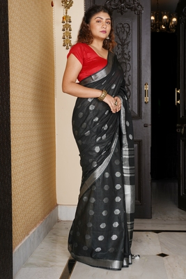 BLACK COTTON BLENDED LINEN SAREE WITH SILVER BORDER AND COIN BUTA