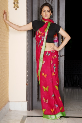 RED BUTTERFLY PRINTED LINEN SAREE WITH GREEN ZARI BORDER