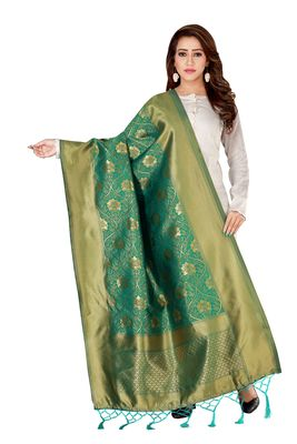 Green woven banarasi Weaving Work Dupatta