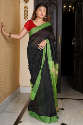 BLACK BLENDED COTTON SAREE WITH GREEN BORDER