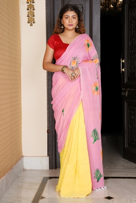 BABY PINK AND YELLOW HALF HALF KHADI COTTON SAREE WITH EMBROIDERY WORK