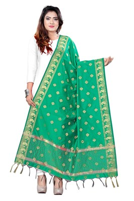 Teal Green woven banarasi Weaving Work Dupatta