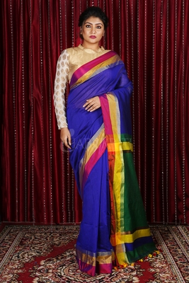 BLUE BLENDED COTTON SAREE WITH MULTICOLOR BORDER AND GREEN PALLU