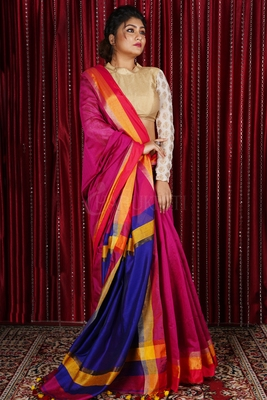 PINK BLENDED COTTON SAREE WITH MULTICOLOR BORDER AND NAVY BLUE PALLU
