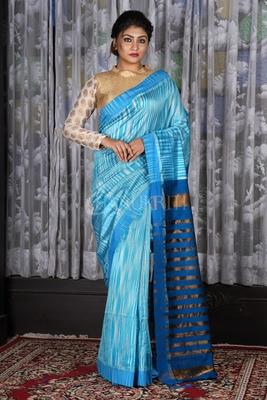 STEEL AND BLUE IKKAT TEXTURED SAREE WITH ZARI PALLU