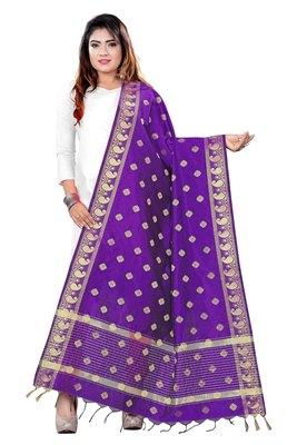 Purple woven banarasi Weaving Work Dupatta