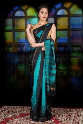 BLACK AND TEAL BLUE IKKAT WEAVING BLENDED COTTON SAREE WITH ZARI PALLU