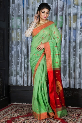 PASTEL GREEN SAREE WITH SMALL BUTA AND WEAVED MAROON PALLU