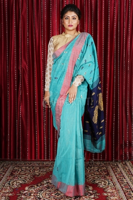 SKY BLUE BLENDED COTTON SAREE WITH SMALL BUTA & NAVY BLUE WEAVED PALLU