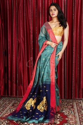 PALE TEAL BLUE PURE COTTON SAREE WITH ALLOVER WEAVE & NAVY BLUE PALLU