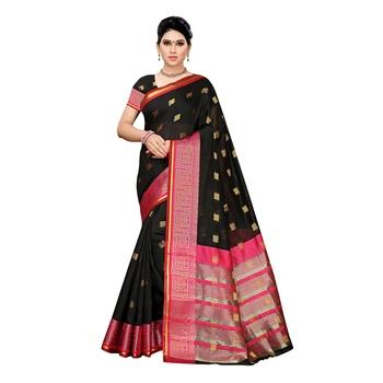 Black woven cotton silk saree with blouse