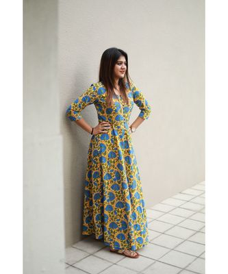 Yellow printed Cotton stitched dresses