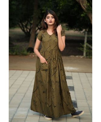 green printed Rayon stitched dresses