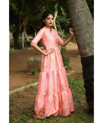Pink printed art silk stitched dresses