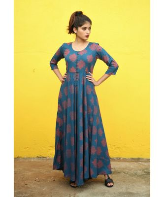 Blue printed rayon stitched dresses