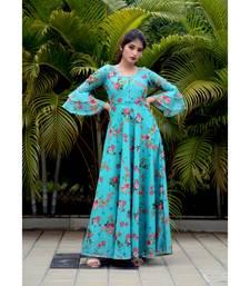 Blue printed Chanderi stitched dresses