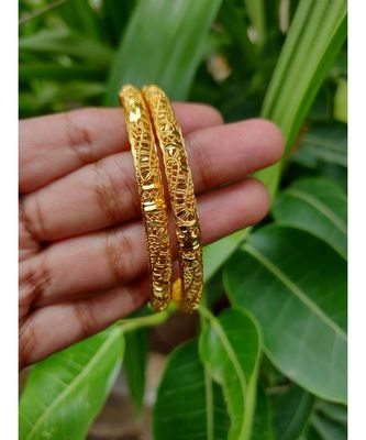 Gold Plated Designer Bangles Set Of 2