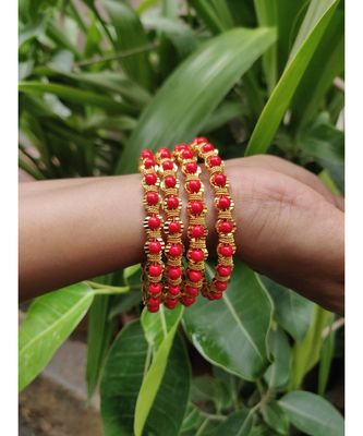 Traditional Ethnic Gold Plated Red Coral Design Bangle Set For Women & Girls
