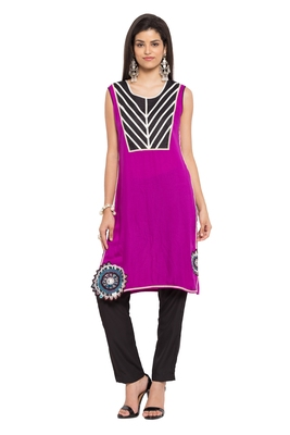 Purple Embroidered Cotton Party Wear Kurtis