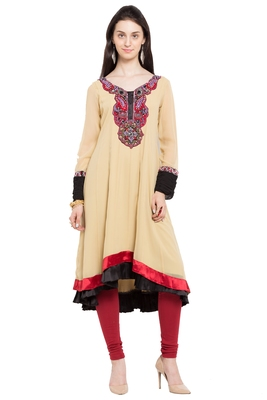 Beige Embroidered Georgette Party Wear Kurtis