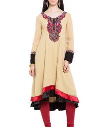 Beige embroidered georgette party-wear-kurtis