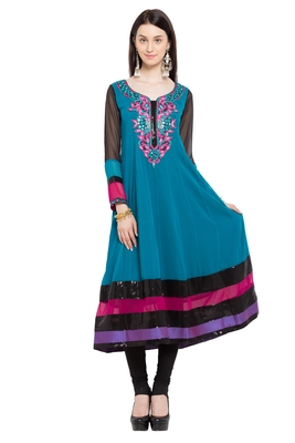Blue embroidered georgette party-wear-kurtis