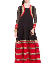 Black embroidered georgette party-wear-kurtis