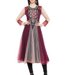 Multicolor Embroidered Net Party Wear Kurtis