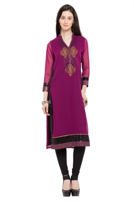 Purple embroidered georgette party-wear-kurtis