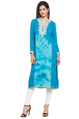 Blue Embroidered Georgette Party Wear Kurtis