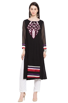 Black Embroidered Cotton Party Wear Kurtis