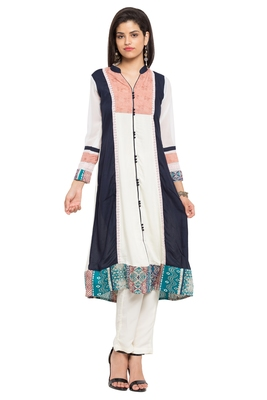 White printed cotton party-wear-kurtis