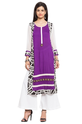 Purple printed cotton party-wear-kurtis