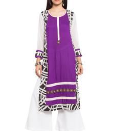 Purple printed cotton party-wear-kurtis
