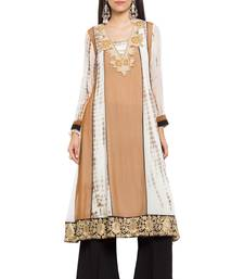 Brown embroidered georgette party-wear-kurtis