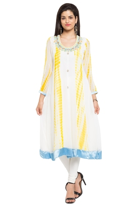 White Embroidered Georgette Party Wear Kurtis