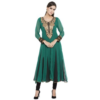 Green embroidered georgette party-wear-kurtis