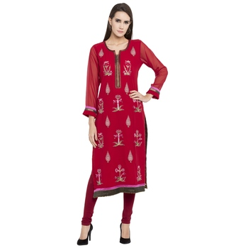 Red embroidered georgette party-wear-kurtis