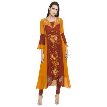 Orange Embroidered Georgette Party Wear Kurtis