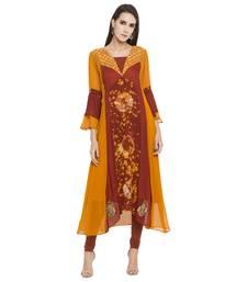 Orange embroidered georgette party-wear-kurtis