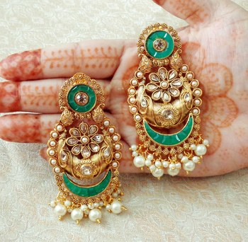 Lalso Designer Green Kundan Pearl Drops Earrings - LKE05_GR