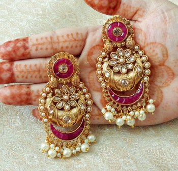 Lalso Designer Ruby Kundan Pearl Drops Earrings - LKE05_RB